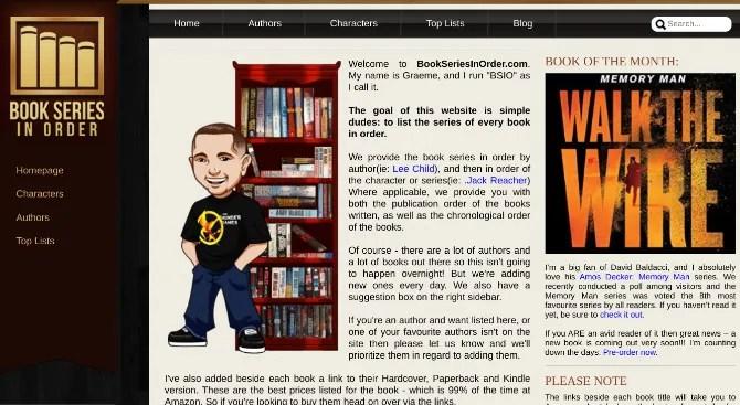 Книжная серия по порядку (BSIO) упорядочивает и рекомендует книги в том порядке, в котором появляется известный персонаж