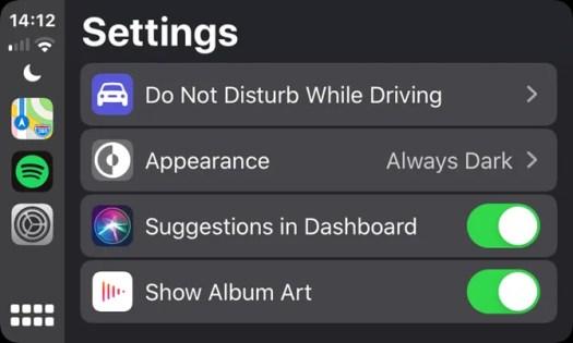 CarPlay App Settings