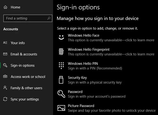 Параметры входа в Windows 10
