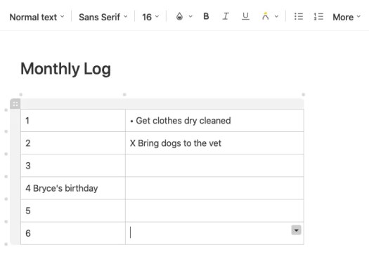 Bullet Journal Monthly Log in Evernote