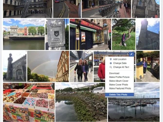 Удалить несколько фотографий из альбома Facebook
