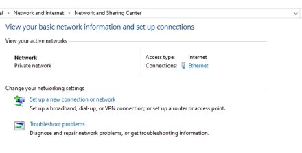 network and sharing center windows