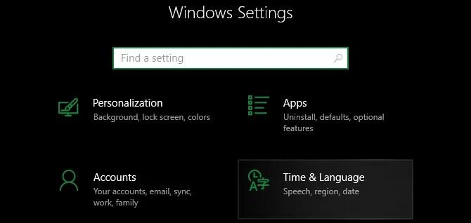 Время настроек Windows