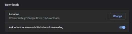 Chrome Change Download Location