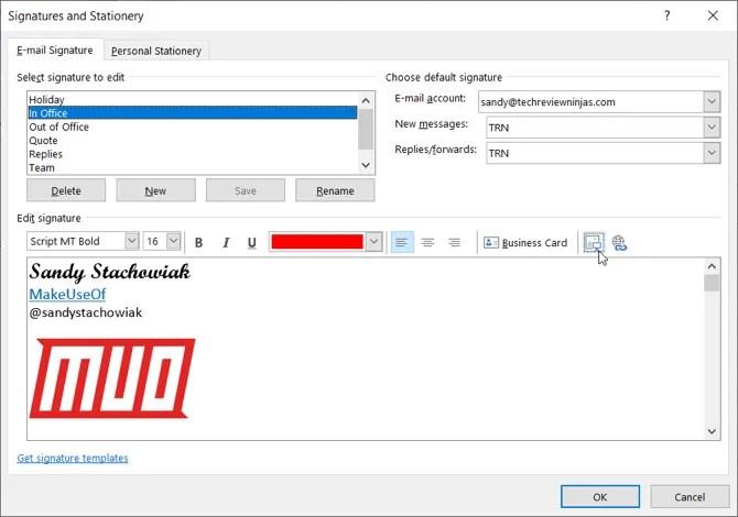 Outlook Desktop Добавить изображение в подпись
