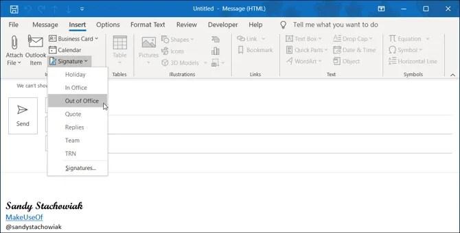 Подпись Outlook Desktop Выберите