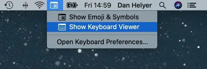 Показать опцию просмотра клавиатуры в строке меню Mac