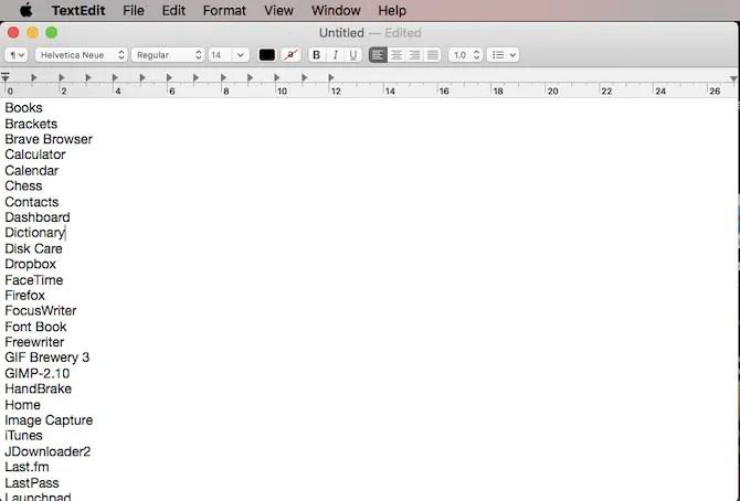 приложения в списке Mac