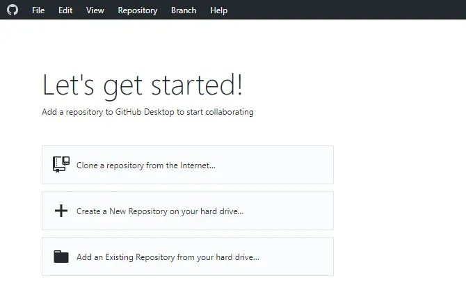 GitHub меню рабочего стола