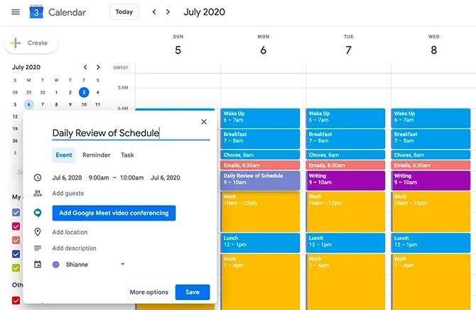 Используйте Google Calendar для блокировки времени по утрам