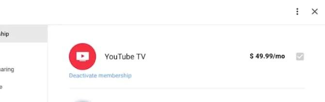 Деактивация YouTube TV в сети