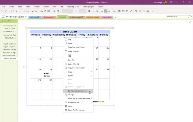 set picture as background in OneNote 2016