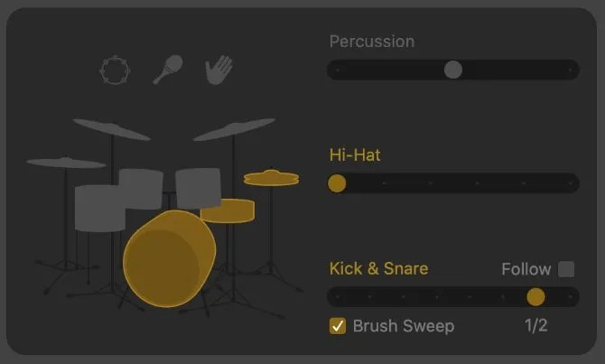 Kick & Snare pattern variation showing half-time and Brush Sweep options