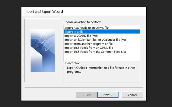 экспортировать электронные письма Outlook в файл