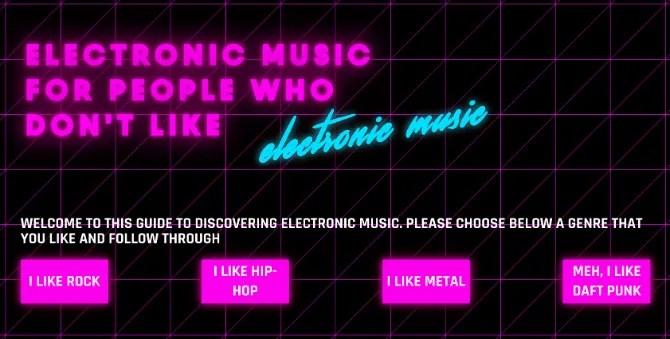Сайт электронной музыки для людей, которые не любят электронную музыку