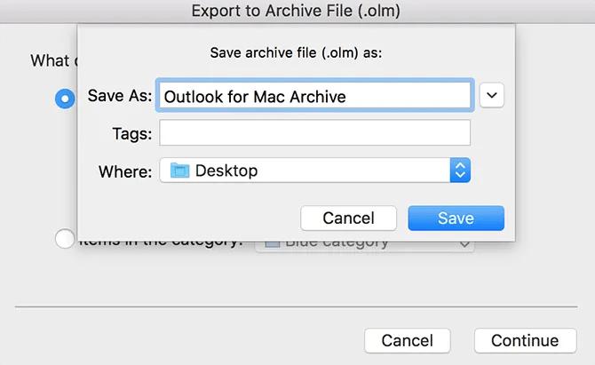 экспорт писем Outlook на Mac