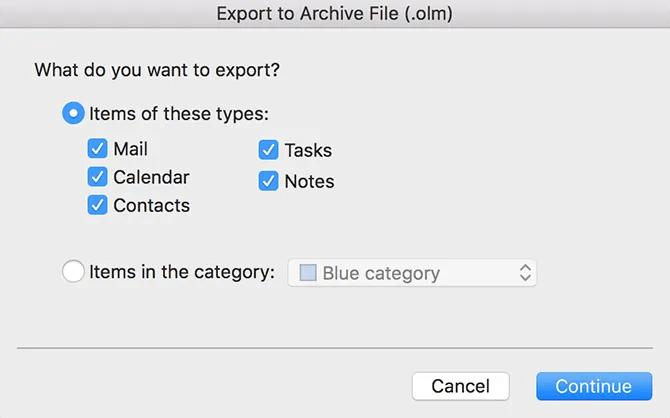 выберите элементы для экспорта в Outlook