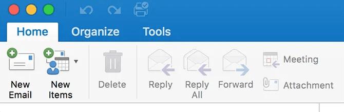 меню инструментов Outlook на Mac