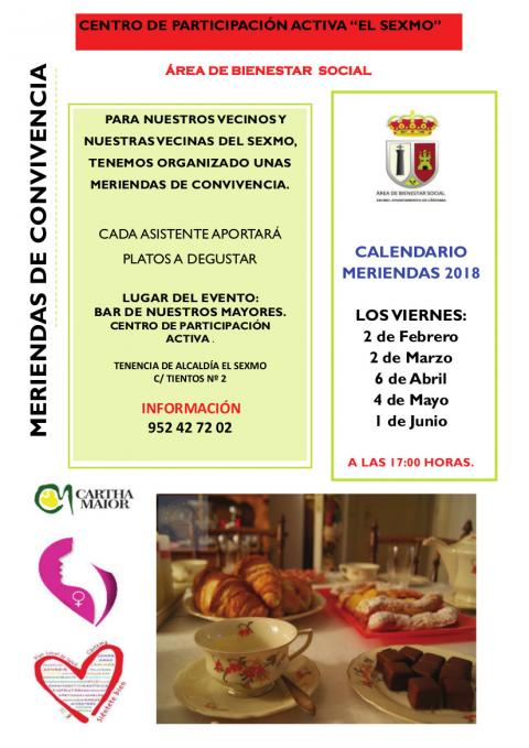 CARTEL MERIENDAS CONVIVENCIA EL SEXMO FEB-JUN 2018