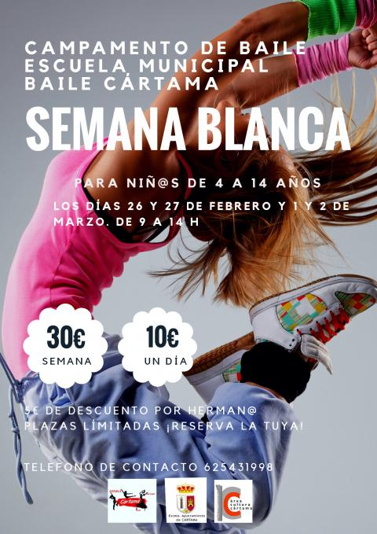 Cartel Campamento de Semana Blanca Escuela de Baile 2018