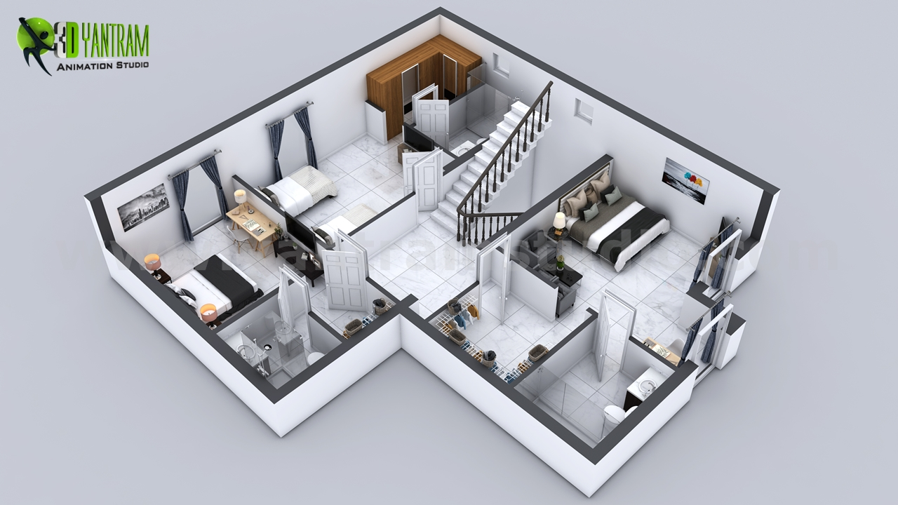 3D Floor Plan of 3 Story House with CutSection View Milan