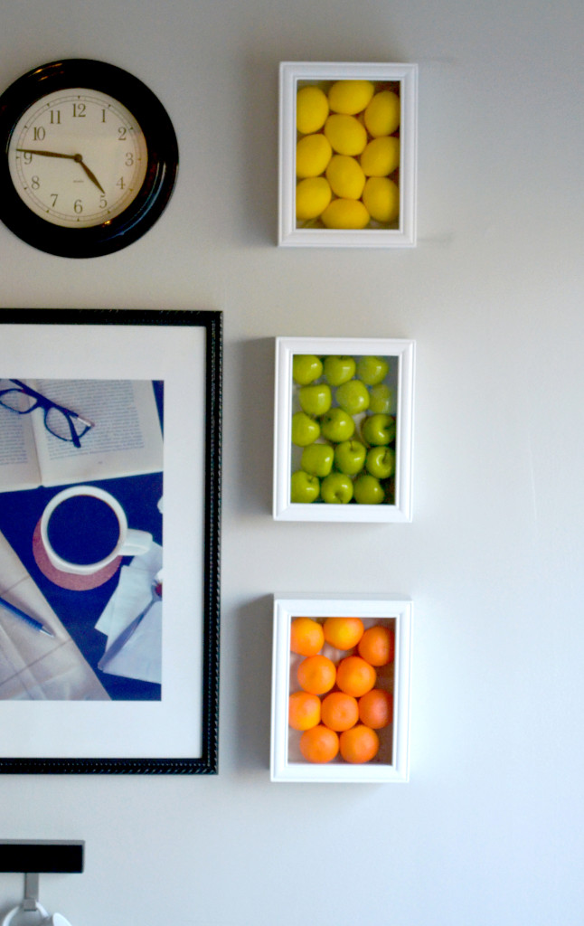 kitchen wall art corner sinks for colorful with fake fruits