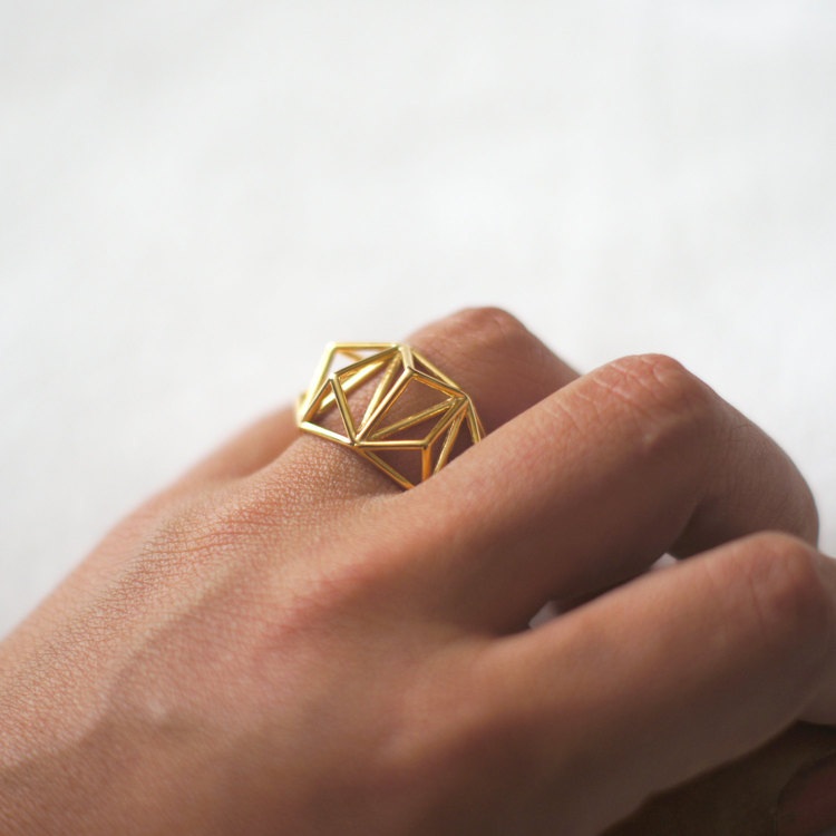Geometric Prism Cage 3d Printed Ring by Danimakes