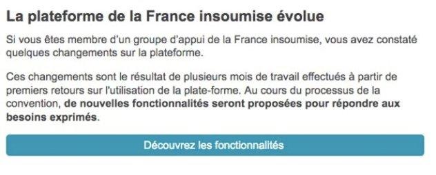 Capture d'écran du message envoyé aux membres de La France insoumise le 5 octobre 2017.