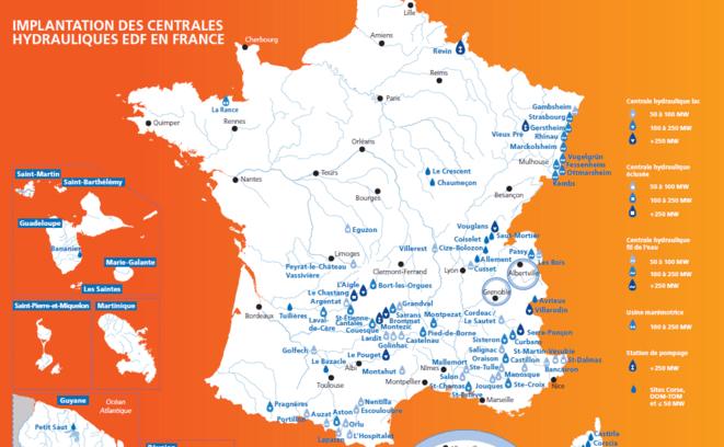 Centrales hydrauliques en France © EDF