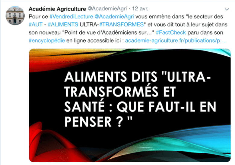 Tweet de l'Académie d'agriculture présentant le point de vue de ses académiciens comme du « fact-checking ». © DR