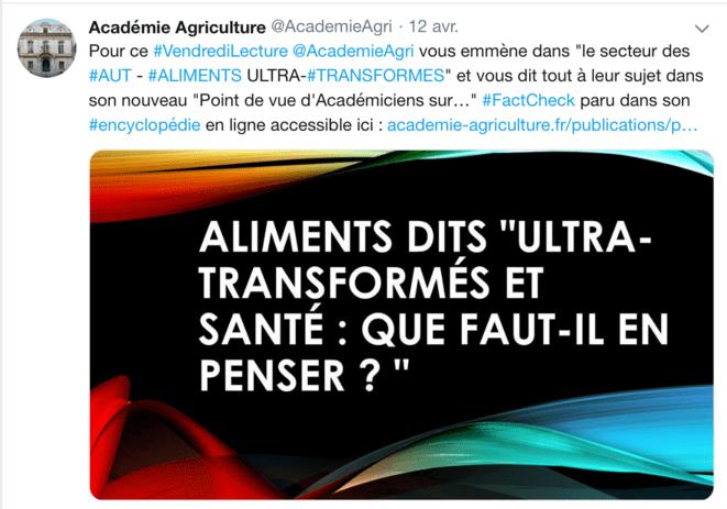 Tweet de l'Académie d'agriculture présentant le point de vue de ses académiciens comme du « fact-checking ». © DR