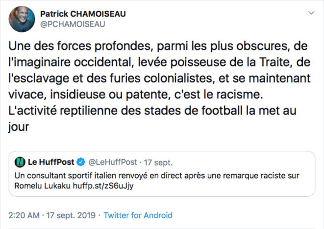 Tweet de Patrick Chamoiseau le 17 septembre 2019.