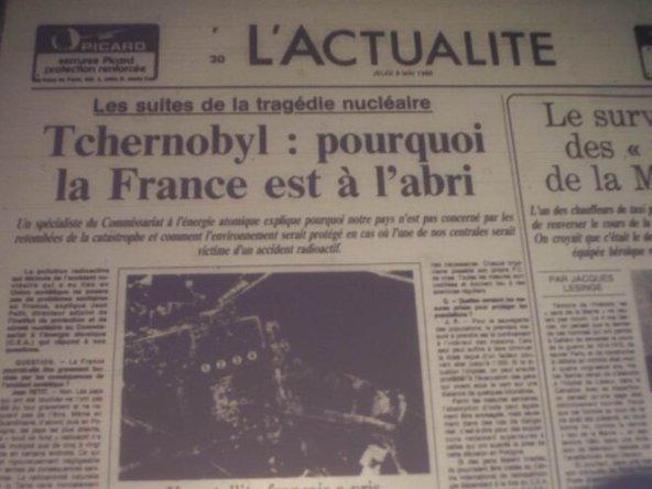 Pierwsza strona francuskiej gazety z tytułem Czernobyl - czemu Francja jest bezpieczna?