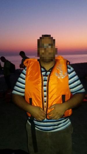 Wissam à son arrivée à Kos en Grèce le 1er septembre 2015.