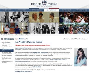Capture d'écran du site de l'Elysée (2008-2012)