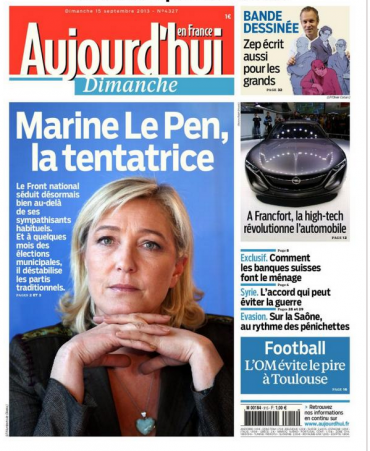 La une du Parisien, le 15 septembre 2013.