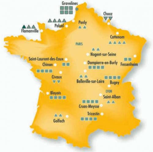 Carte de France des centrales nucléaires (©ASN)