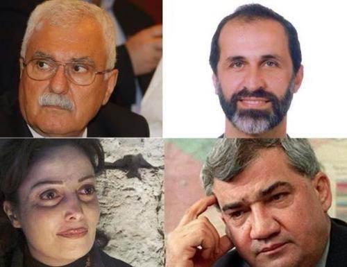 De gauche à droite, Georges Sabra, Moua'z al-Khatib, Souhair al-Atassi, Ryad Seif.