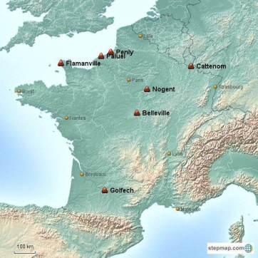 Carte des centrales de 1 300 MW concernées par les problèmes de disjoncteur (© Arthur Pivin).