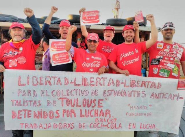 En avril, chez des employés de Coca-Cola en lutte à Madrid.