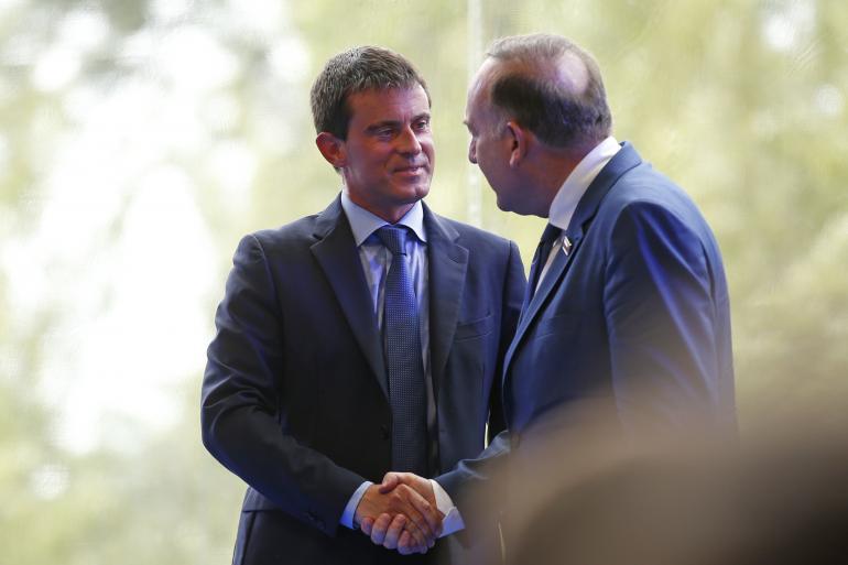 Manuel Valls et Pierre Gattaz, lors de l'université du Medef, mercredi.