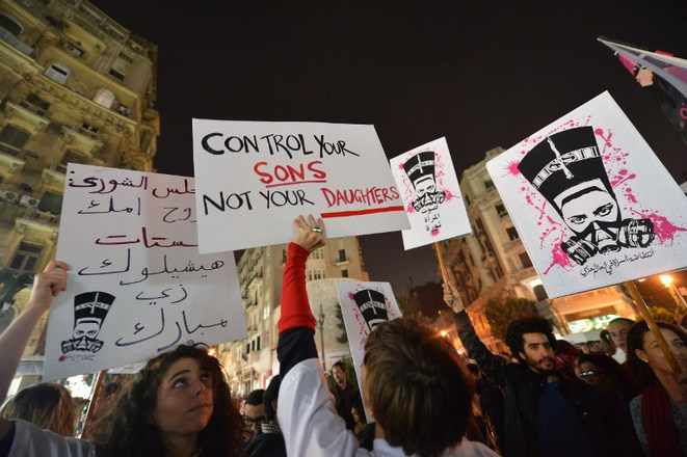 Manifestation contre les violences sexuelles à l'encontre des femmes, au Caire, le 12 février.