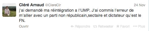 Arnaud Cléré a demandé sa réintégration à l'UMP sur son compte Twitter.