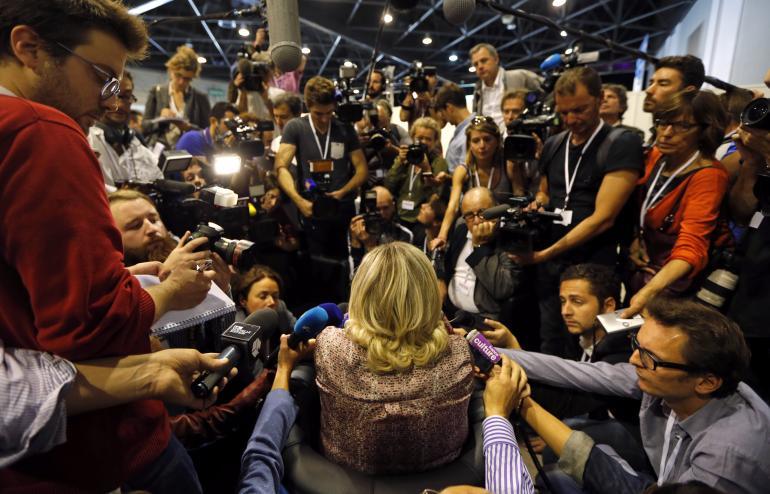 Marine Le Pen lors de son université d'été, le 14 septembre, à Marseille.