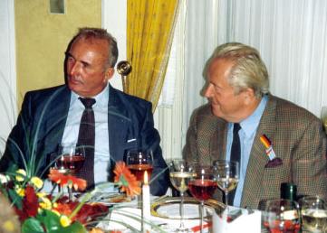 Jean-Marie Le Pen et Franz Schönhuber, auteur de «Der Rebel», une biographie de Le Pen.