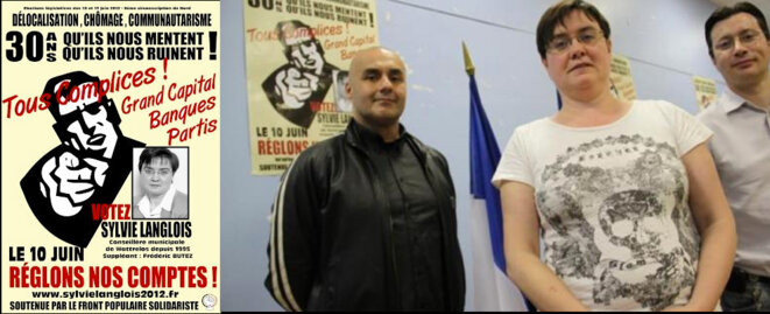 Sylvie Langlois candidate pour les législatives de 2012 sous les couleurs du parti de Serge Ayoub, avec qui elle pose à droite.