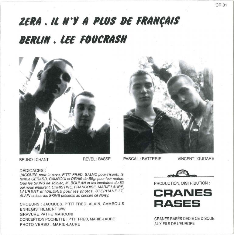 """La pochette (verso) du disque, où figure Vincent Gérard comme guitariste, et leur chanson """"Il n'y a plus de Français""""."""