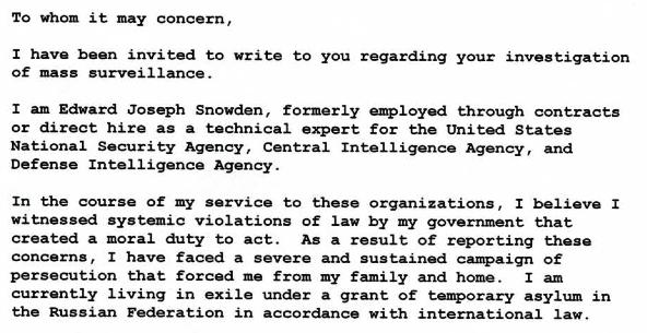 La lettre d'Edward Snowden aux autorités allemandes.