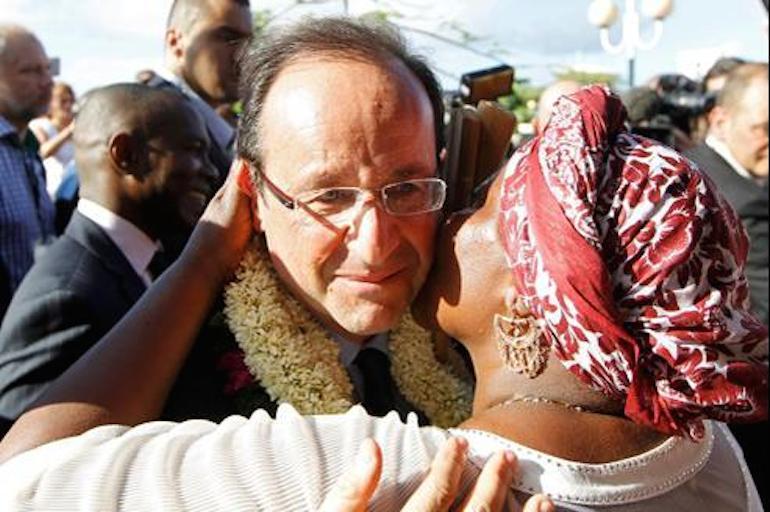 François Hollande en visite à Mayotte, le 3 mars 2012.