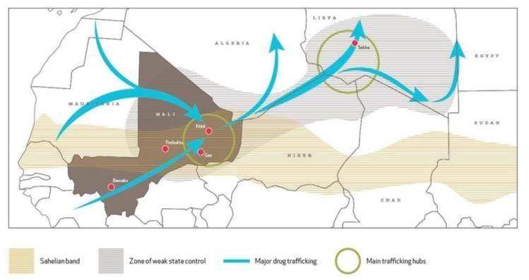 Les routes du trafic de drogue passant par le Mali.